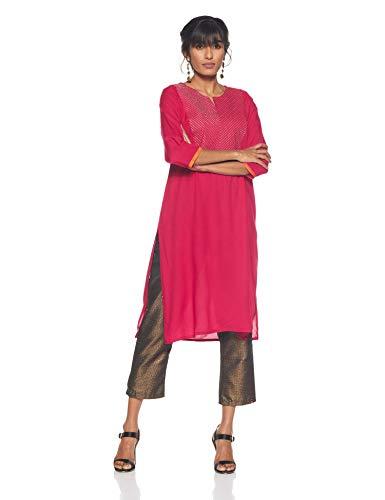 Rangmanch by Pantaloons Women's Rayon Straight Kurta (205000005821105_Pink_XX-Large)
