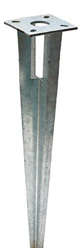 Zaun-Nagel Einschlag-Bodenhülse, Pfostenträger für Pfosten Ø 34 mm, Einschlaghülse mit Kopfplatte, Alternative zum Einbetonieren der Pfosten.