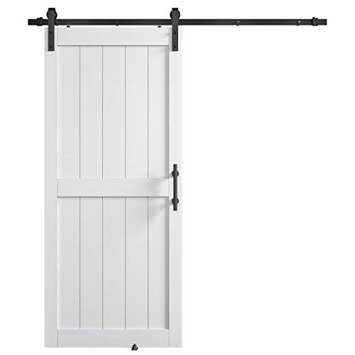COSHOMER 36in x 84in MDF Sliding Barn Door with 6.6ft Barn Door Hardware Kit & Handle, Pre-Drilled Holes Easy Assembly -Solid Wood Slab Inside Covered with Water-Proof PVC Surface, White, H-Frame