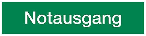 Notausgang, Textschild, Hart-PVC, 400 x 100 mm, Rettungszeichen Schild, 40 x 10 cm