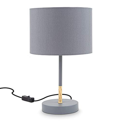 B.K.Licht I Stoff-Tischleuchte Grau I E27 I 1-flammig I Stoffschirm 20 cm I 140 cm Kabelschalter I ohne Leuchtmittel