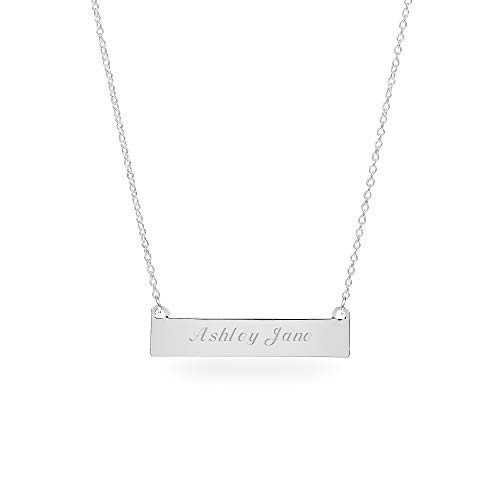 Things Remembered Personalized Silver Horizontal ID Bar Necklace with Engraving Included