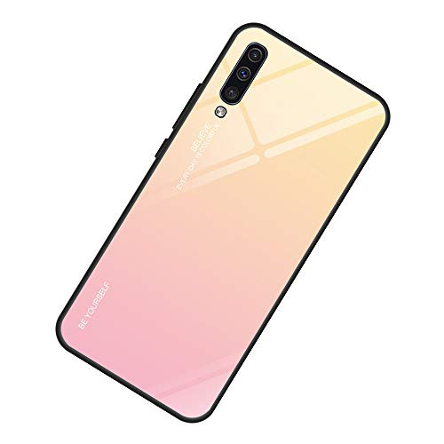 AIsoar Compatible with Galaxy A50 Colored Gradient Tempered Glass Case,Tempered Glass Back Cover + Soft TPU Bumper Frame Shockproof Anti-Scratch Protective Cover Shell (Pink + Yellow)