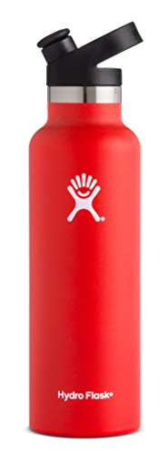 Hydro Flask 21 oz Water Bottle - Stainless Steel & Vacuum Insulated - Standard Mouth with Sport Cap - Lava
