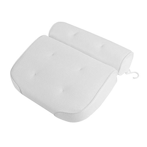 Best Goods - Cuscino per vasca da bagno, con ventose, per vasca da bagno, cuscino per vasca da bagno, cuscino per vasca idromassaggio, poggiatesta (36 x 36 x 10 cm) (bianco)