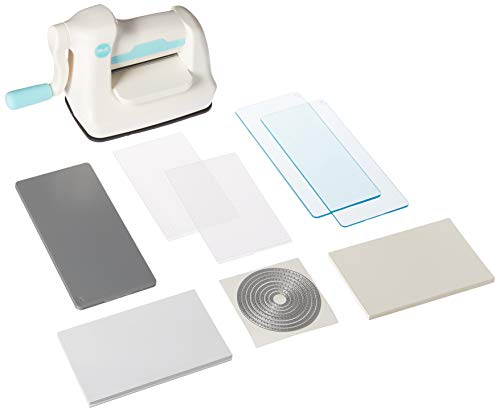 We R Memory Keepers 0633356616290 Tool Mini Evolution Starter Kit-Machine Buffer Cutting Plate Embossing (64 Piece), White, Blue