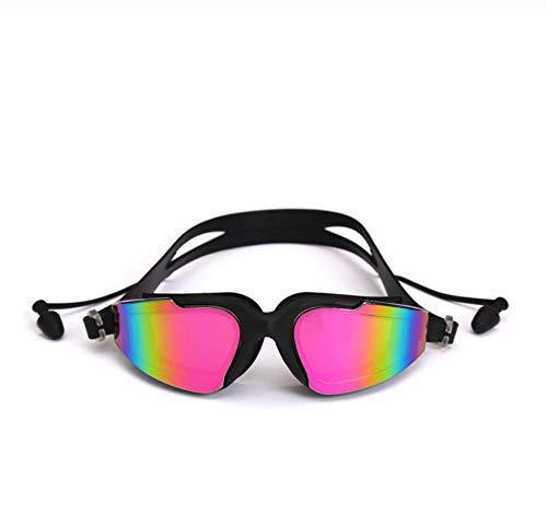 WHXJ Gafas De Natación Silicona Profesional Anti-Niebla UV Gafas De Natación Multicolores con Tapón para Los Oídos para Hombres Mujeres Deportes Acuáticos Gafas