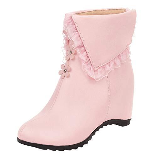 CESSBO Stiefeletten Damen Blumenzubehör Lace Wasserdicht Bequeme Wedges Zipper Short Boot Round Toe in 3 Farben Schuhe