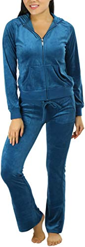 ToBeInStyle Women's Velour Tracksuit Jacket and Matching Pants - Teal - L
