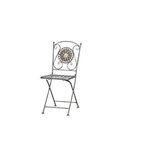 Siena Garden 380777 Liegestuhl Felina, 37x35x91cm, Gestell: Stahl, in silber-schwarz, Fläche: Keramik in bunt, Mehrfarbig