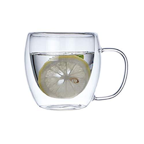 holilest Vaso, Tazas de café de Cristal 250/350 / 450ML, Vasos de café con Aislamiento de Doble Pared Calor R-250