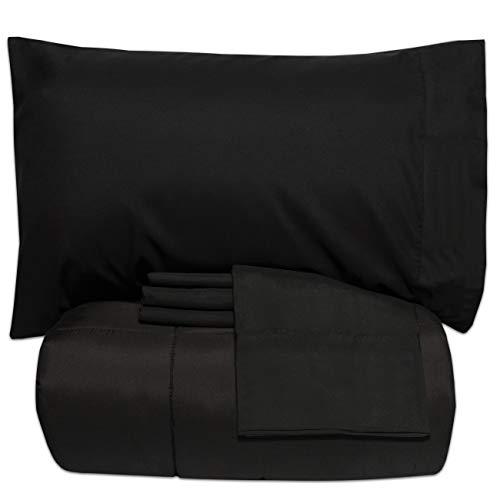 Sweet Home Collection 5-teiliges Tagesdecken-Set, einfarbig, weiche Daunen-Alternative Decke & luxuriöse Mikrofaser-Bettlaken, Doppelbett, Schwarz