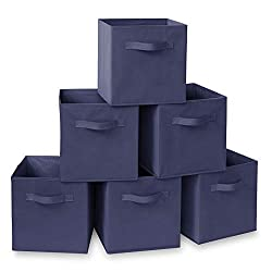 "Casafield Set of 6 Collapsible Fabric Cube Storage Bins, Navy Blue - 11"" Foldable Cloth Baskets for Shelves, Cubby Organizers & More"