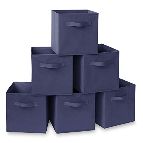 Casafield Set of 6 Collapsible Fabric Cube Storage Bins, Navy Blue - 11' Foldable Cloth Baskets for Shelves, Cubby Organizers & More