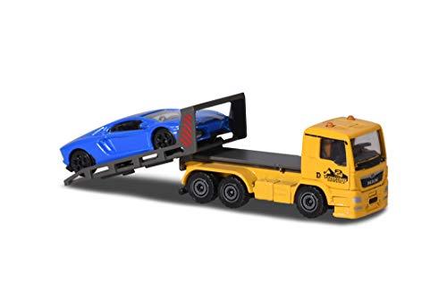 Majorette MAN TGA Abschleppfahrzeug, Abschleppwagen, Lamborghini Aventador, blau, Spielzeugauto, Freilauf, zu öffnende und/oder bewegliche Teile, 13 cm, für Kinder ab 3 Jahren
