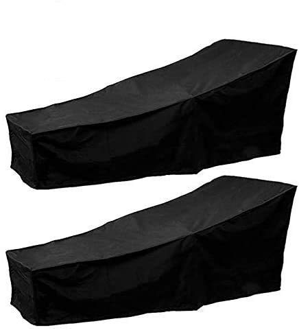 2Pcs Outdoor Sunbed Cover Anti-UV Sun Lounger Covers Waterproof Garden Rattan Patio Furniture Protector Black 2.08m X 0.76m X 0.41-0.79m/6.82ft X 2.49ft X 1.34-2.59ft
