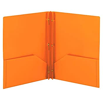 Smead Poly Two-Pocket Folder Three-Hole Punch Prong Fasteners Letter Size Orange 3 per Pack  87735