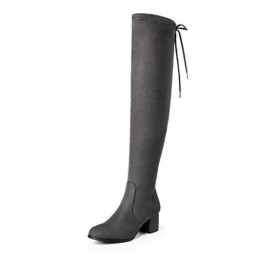 DREAM PAIRS Damen Overknee Stiefel mit Blockabsatz Kunstfell Winterstiefel Portz Grey Größe 9 M US / 40 EU