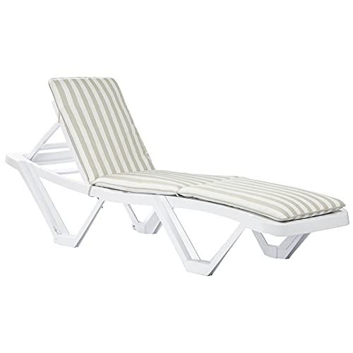 Harbour Housewares Maestro Sun Lounger & Cushion Set - Regolabile Reclining Patio Esterno Mobili - Bianco/Beige a Righe