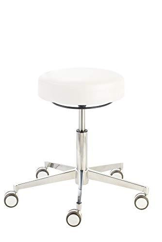 Prova Nova GmbH Rollhocker Puffi® London 4200, Sitzhöhe ca. 48-61 cm, Rundsitz, Ringauslösung, Komfort-Rollen, Sitzhöhe (Hub):ca. 48-61 cm, Stamskin Farbdekors:Stamskin blütenweiß