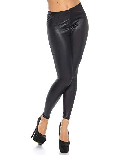 Kendindza Damen Lack-Optik Leggings | Blickdicht | elastisch High-Waist (Schwarz, L)