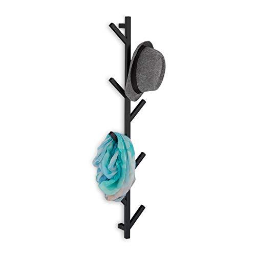 Relaxdays Wandgarderobe mit 8 Haken, platzsparend, dekorativ, Metall, H x B x T: 100,5 x 19,5 x 7 cm, Garderobe, schwarz, 1 Stück