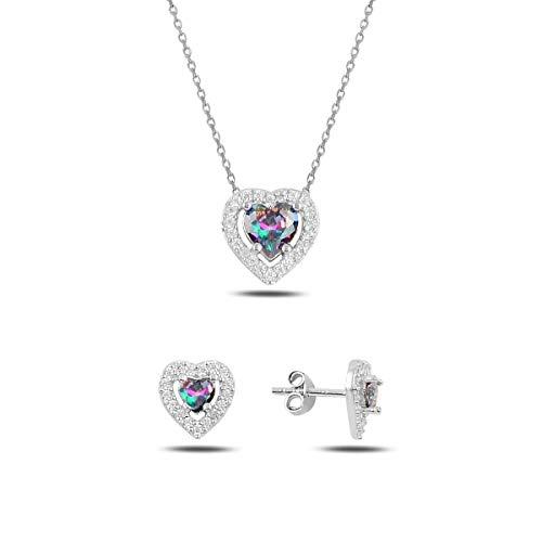 Collar de plata de ley 925 con forma de corazón para mujer, pendientes de topacio místico