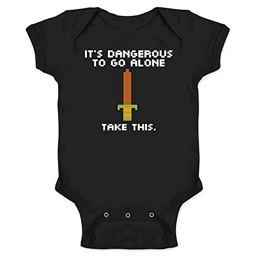 Pop Threads It's Dangerous to Go Alone Take This 8 Bit Gaming Infant Baby Boy Girl Bodysuit