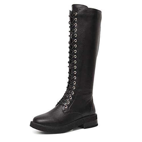 Sasecht Stiefel Kinderschuhe Dick Mit Wilden Hoch British Wind Knight Boots Tide Stiefel (Color : Black, Size : 38)