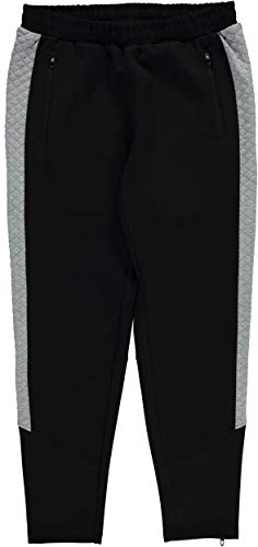 Hind Athletic Sweatpants with Quilted Side Panels for Men, Black/Black&Grey (Extra Large, Black/Heather Grey)
