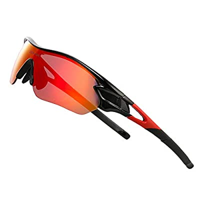 COMAXSUN Polarized Sports Sunglasses with 5 Interchangeable Lenses for Men Women Cycling Running Driving Fishing Golf Baseball Glasses STS816 (Black Red)