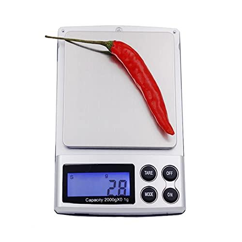 ZOBOLA Joyería portátil gram Balance de Peso Mini Pantalla de Pantalla LCD Digital Escala de medición 0.1g x 2000g para panorámica de Oro al Aire Libre (Color : Silver)