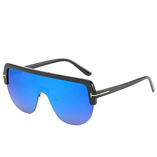 N/ A Oversized zonnebril vrouwen half Frame Flat Top Gradient spiegel zonwering UV400 mannen zonnebril