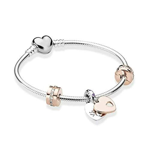 Belinia Prestige - bracciale donna - bracciale pandora bracciale cuore charms, stile bracciale + charm + portagioielli + portagioielli per bracciale e charm (Coeur argent, 21)