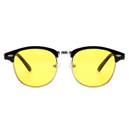 xzczxc Herren Damen Anti Blaulicht Computer Brille Semi-Rimless Browline Frame für Anti Eyestrain Yellowlens
