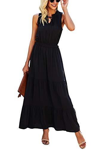 KIRUNDO 2021 Summer Women's Sleeveless Maxi Dress Solid Color Round Neck Tie Neck Dress High Waist Ruffle Hem A-Line Long Dress (X-Large, Black)