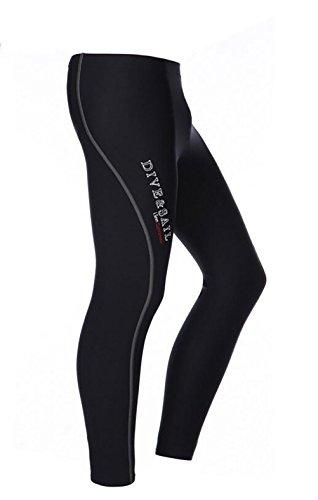 DIVE&SAIL Damen Herren Full Length Tauchhose Schwarz 1,5mm Snorkeling UV Schutz Winter Schwimmen Hose (L, Herren-24)