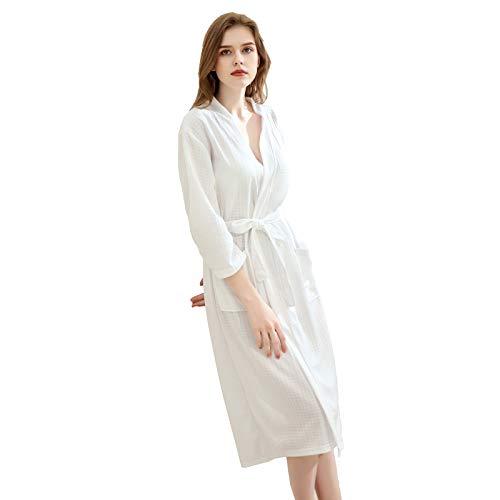 Xiang Ru Kimono para mujer + bandas de maquillaje para el pelo, suave y ligero, bata de spa, ropa de dormir, bata de dormir con bolsillos