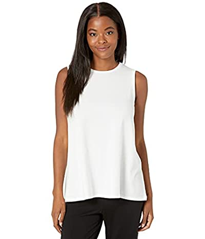 Eileen Fisher Crew Neck Long Shell in Fine Stretch Jersey Knit