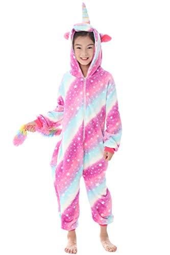 "Dolamen Niños Unisexo Onesies Kigurumi Pijamas, Niña Traje Disfraz Animal Pyjamas, Ropa de Dormir Halloween Cosplay Navidad Animales de Vestuario (130-140CM (51""-55""), Purplestar)"