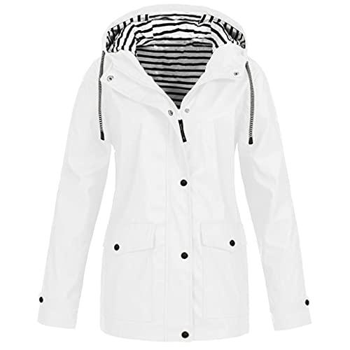 Chubasquero para mujer, impermeable, transpirable, con capucha, chaqueta de lluvia ligera y grande, chaqueta de invierno, cortavientos, chaqueta con bolsillos, Blanco, XXL