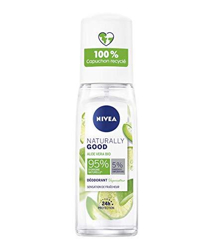 NIVEA NATURALLY GOOD Déodorant Femme Aloe Vera Bio spray 75ml, déodorant avec 95% d'ingrédients d'origine naturelle, spray vaporisateur fraîcheur 24h