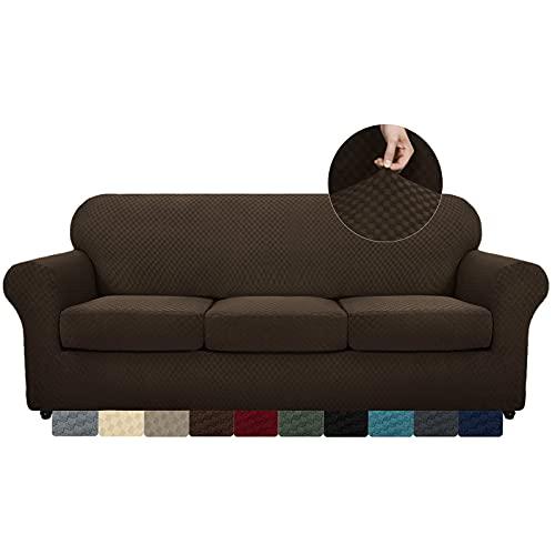 MAXIJIN 4 Piezas más Nuevas Fundas de sofá para 3 plazas elástico Antideslizante Funda de sofá para Perros elástico Jacquard Protector de Muebles Fundas de sofá (3 plazas, café Oscuro)