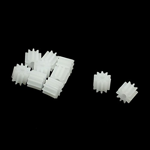 uxcell 10 Pcs White Plastic 10 Teeth Electrical Models Toothed Wheels Gears