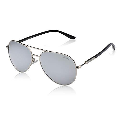 LUENX Herren Sonnenbrille Polarisiert mit Etui - UV 400 Schutz Silber Linse Silber Rahmen 60mm