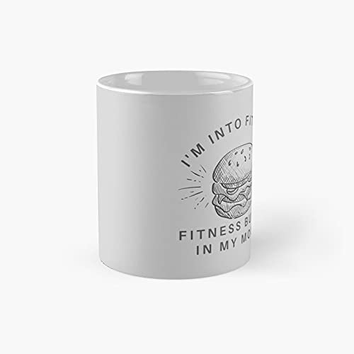 Fitness Coach I39m Into Burger In My Mouth Mens Training Gym Classic Mug - Ceramic Coffee White (11 Ounce) Tea Cup Gifts For Bestie, Mom And Dad, Lover, Lgbt