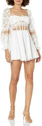 For Love Lemons Women s Lace Long Sleeve Swing Dress White Small product image