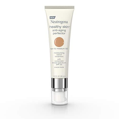 Neutrogena Healthy Skin Anti-Aging Perfector Tinted Facial Moisturizer and Retinol Treatment with Broad Spectrum SPF 20 Sunscreen with Titanium Dioxide, 50 Tan to Medium, 1 fl. oz
