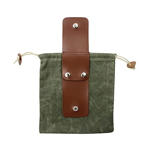 Borsa in tela cerata in pelle, borsa per la raccolta della frutta, borsa per il foraggiamento con coulisse, borsa pieghevole per il foraggiamento da campeggio all'aperto per l'escursionismo (Green)