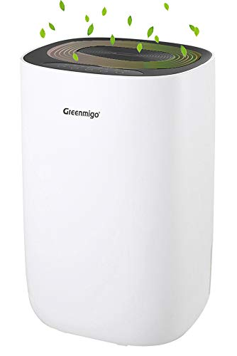 Greenmigo Deshumidificador Eléctrico Portátil 12L/24h con Refrigerante R290,Deshumidificación Continua y Silenciosa,Automático hasta...